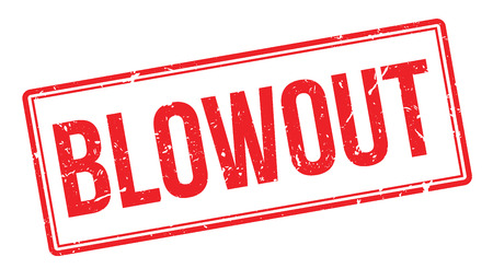 blowout: Blowout rubber stamp on white. Print, impress, overprint.