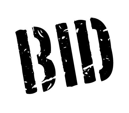 bid: Pujar sello de goma en blanco. Imprimir, impresionar, sobreimpresión. Signo de la oferta del mercado, oferta de la subasta, bajo petición. propuesta de negocio para su compra. etiqueta de subastas de antigüedades. Signo de la operación, un trato. Vectores