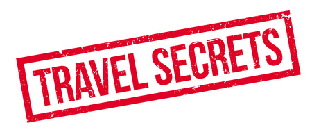 best guide: Travel Secrets rubber stamp on white. Print, impress, overprint. Adviser for tourists, insight. Travel navigator, adventure guide. Holiday tour best advice. Support for traveller.