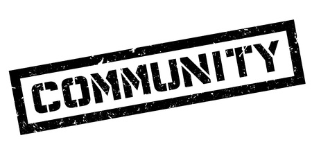 Community rubber stamp on white. Print, impress, overprint.