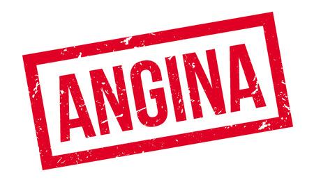 angor: Sello de goma de la angina de pecho en blanco. Imprimir, impresionar, sobreimpresión.
