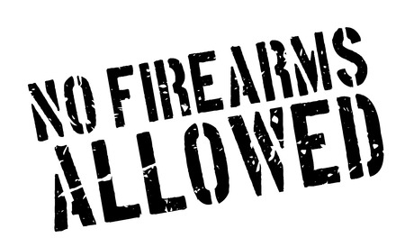 disallow: No Firearms Allowed rubber stamp on white. Print, impress, overprint. Illustration