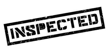 surveying: Inspected rubber stamp on white. Print, impress, overprint. Sign of test passed, product examination. Analysis and probe made. Product survey check sticker. Illustration