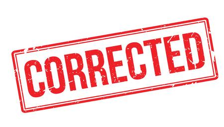 rectify: Corrected rubber stamp on white. Print, impress, overprint. Illustration
