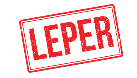 ypres: Leper rubber stamp on white. Print, impress, overprint.