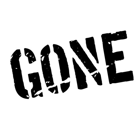 gone: Gone rubber stamp on white. Print, impress, overprint.