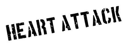 Heart Attack rubber stamp on white. Print, impress, overprint.