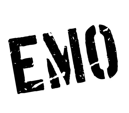 emo: Emo rubber stamp on white. Print, impress, overprint. Sign of emotional, liberal, hippie teenager person, belonging to certain subculture. Modern city subculture with certain dress fashion. Illustration