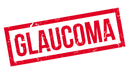 sickness: Glaucoma rubber stamp on white. Print, impress, overprint. Sign of eye disorder condition. Health problem, eye sickness.