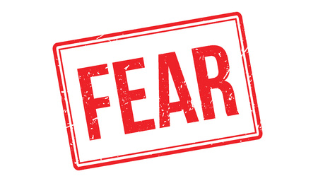 dismay: Fear rubber stamp on white. Print, impress, overprint.