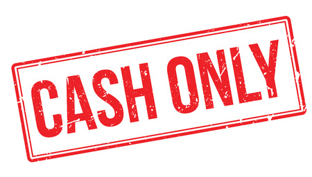 cheques: Cash Only rubber stamp on white. Print, impress, overprint. Sign of cash money acceptance, no debit or credit cards, no cheques or other financial mediums other than cash.