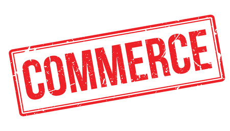 retailing: Commerce rubber stamp on white. Print, impress, overprint.
