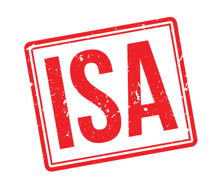 savings account: ISA rubber stamp on white. Print, impress, overprint. Individual Savings Account label. Bank account, financial instrument with interest rate. Good for family investment.
