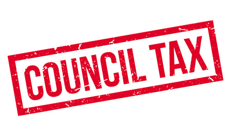 levy: Council Tax rubber stamp on white. Print, impress, overprint.