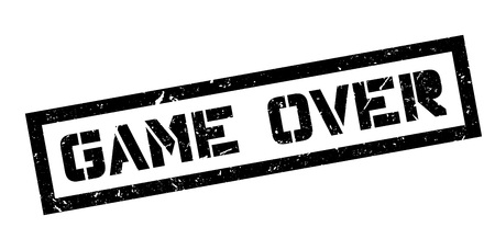 concluded: Game Over rubber stamp on white. Print, impress, overprint. Sign of an end, fail, task or mission failure. Label of unsuccessful ending.