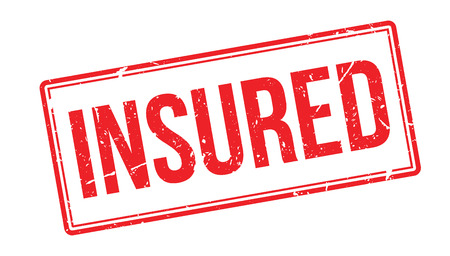 insured: Insured rubber stamp on white. Print, impress, overprint. Sign of property protected, covered with insurance policy. Payout guaranteed. Illustration