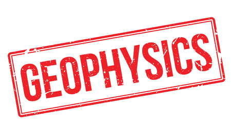 geophysical: Geophysics rubber stamp on white. Print, impress, overprint.