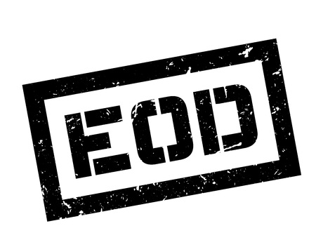 EOD rubber stamp on white. Print, impress, overprint. Explosive Ordnance Disposal label. Illustration