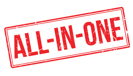 advertised: All-in-one rubber stamp on white. Print, impress, overprint. All included sign, an advertising, a banner. An offer, deal, bargain. Product advert.