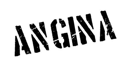 angina: Angina rubber stamp on white. Print, impress, overprint. Vectores