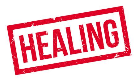 healing: Healing rubber stamp on white. Print, impress, overprint. Symbol for medicine, healthcare, pharmacy. Illustration