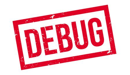 debug: Debug rubber stamp on white. Print, impress, overprint.