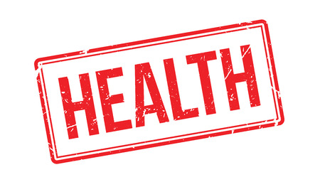 well being: Health rubber stamp on white. Print, impress, overprint. Warning symbol for health, exercise, well being.