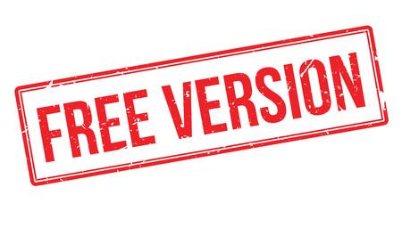 version: Free version rubber stamp on white. Print, impress, overprint.