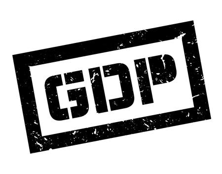 credit crunch: GDP rubber stamp on white. Print, impress, overprint.