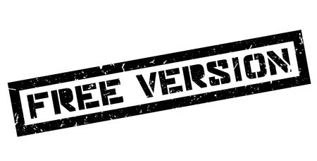 Free version rubber stamp on white. Print, impress, overprint.