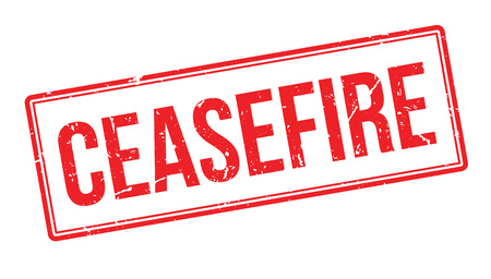 ceased: Ceasefire rubber stamp on white. Print, impress, overprint.