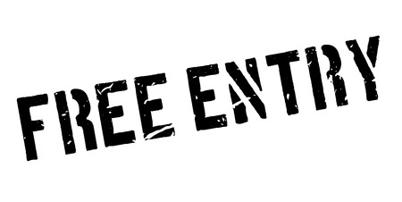 freebie: Free entry rubber stamp on white. Print, impress, overprint.