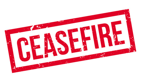 ceasefire: Ceasefire rubber stamp on white. Print, impress, overprint.