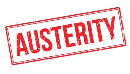 Austerity rubber stamp on white. Print, impress, overprint.