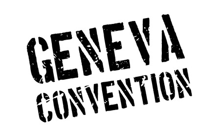 humanitarian: Geneva Convention rubber stamp on white. Print, impress, overprint. International humanitarian sign for rules of warfare, military conflict and treatment of prisoners.
