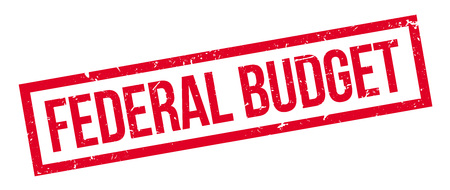 tax policy: Federal Budget rubber stamp on white. Print, impress, overprint.