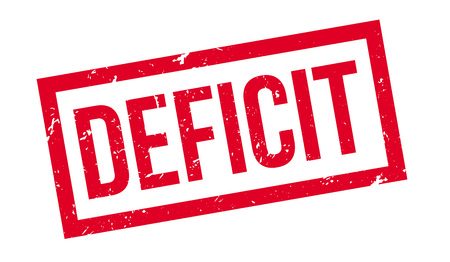 deficit: Deficit rubber stamp on white. Print, impress, overprint. Illustration