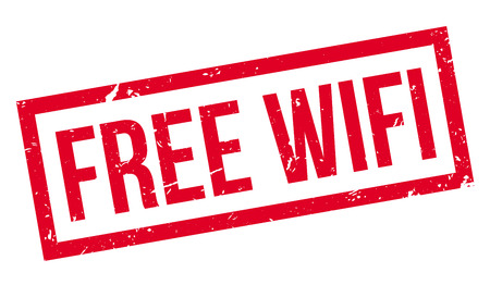 freebie: Free Wifi rubber stamp on white. Print, impress, overprint.