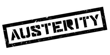 Austerity rubber stamp on white. Print, impress, overprint.