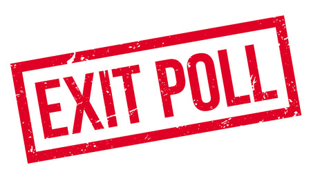 poll: Exit Poll rubber stamp on white. Print, impress, overprint. Election exit poll sign. Illustration