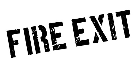 health threat: Fire Exit rubber stamp on white. Print, impress, overprint.