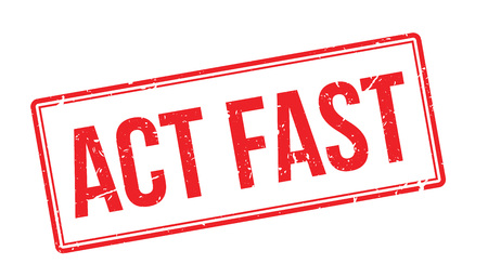 run faster: Act Fast rubber stamp on white. Print, impress, overprint.