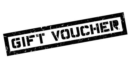 pledge: Gift Voucher rubber stamp on white. Print, impress, overprint. Sign of coupon, voucher, bill. Label, ink stamp. Illustration