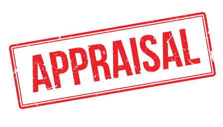 appraise: Appraisal rubber stamp on white. Print, impress, overprint.