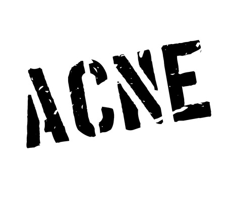 Acne rubber stamp on white. Print, impress, overprint.