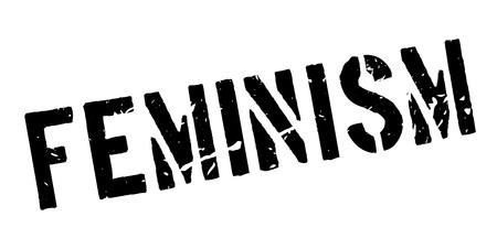 discriminate: Feminism rubber stamp on white. Print, impress, overprint.