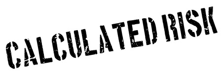 calculated: Calculated Risk rubber stamp on white. Print, impress, overprint.