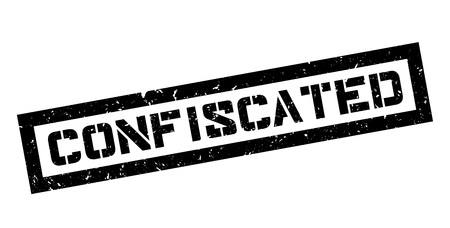 confiscated: Confiscated rubber stamp on white. Print, impress, overprint. Illustration