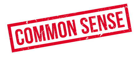 common sense: Common Sense rubber stamp on white. Print, impress, overprint. Sign of common knowledge, wisdom, coming of simple experience, common to all people.