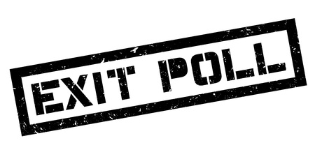 local election: Exit Poll rubber stamp on white. Print, impress, overprint. Election exit poll sign. Illustration